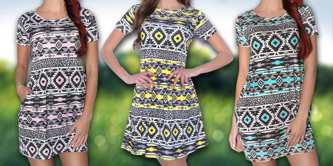 Stylové šaty s aztéckým vzorem v šesti barvách