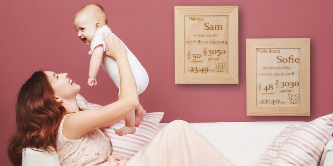 Dárek pro novorozence: rámeček s porodními údaji