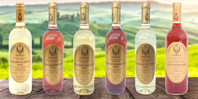 5 přívlastkových a 1 moravské zemské víno
