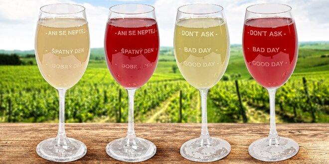 Sklenice na víno pro dobrou i špatnou náladu