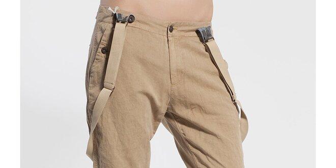 Dámské béžové chino kalhoty Diesel s kšandami