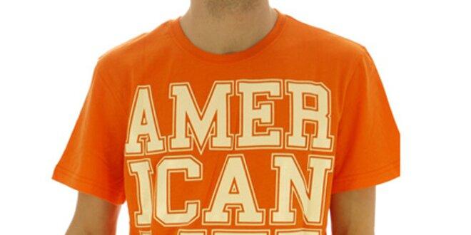 820fdb401 Pánské oranžové tričko s nápisem American Life | Slevomat.cz