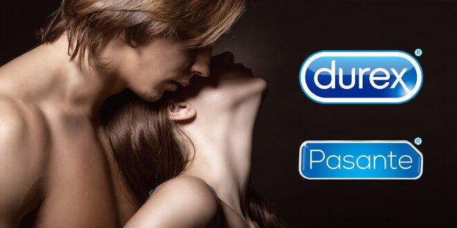 Zásoba kondomů Durex a Pasante i lubrikační gely
