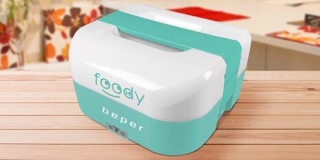 Modrý elektrický box pro přenos i ohřátí jídla
