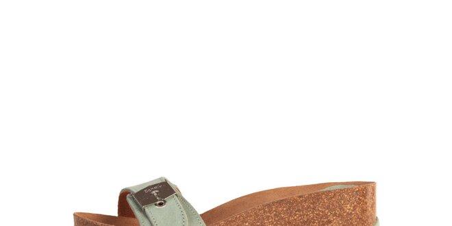 Dámské šedé pantoflíčky se stříbrnou přezkou Dr. Scholl