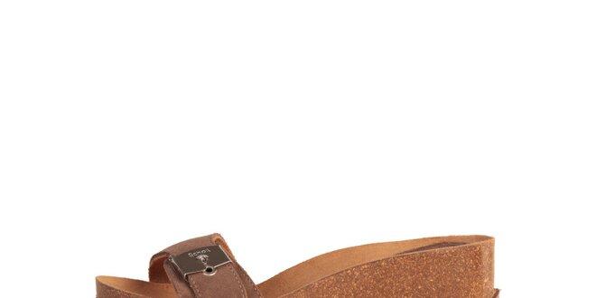 Dámské kávové pantoflíčky se stříbrnou přezkou Dr. Scholl