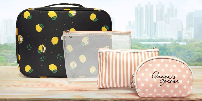Sady 3 kosmetických taštiček či kosmetický kufřík