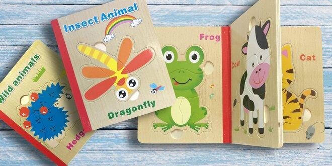 Dětská dřevěná puzzle knížka: 5 veselých motivů
