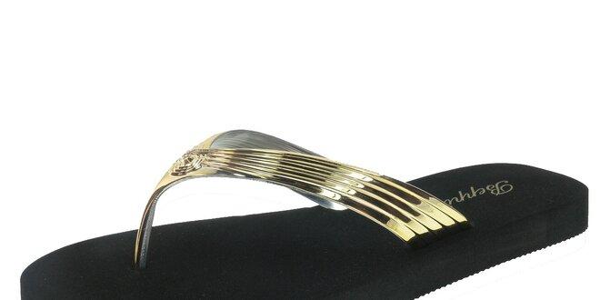Dámské černé žabky se zlatými pásky Beppi