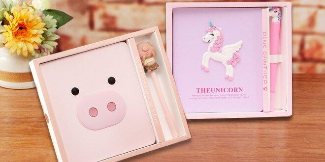 Nádherné deníčky s perem v dárkové krabičce