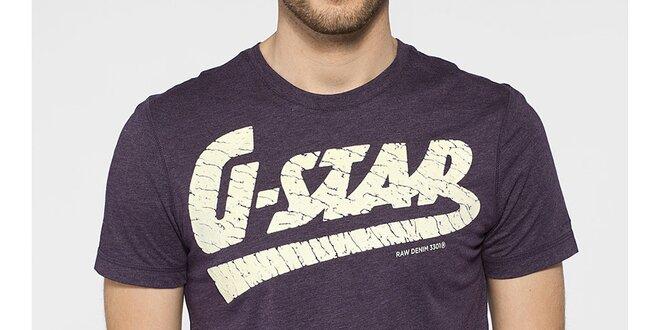 Pánské fialové tričko G-Star Raw s bílým potiskem