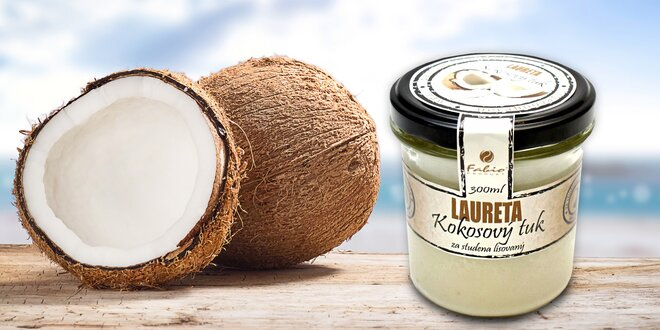 100% kokosový olej Laureta lisovaný za studena