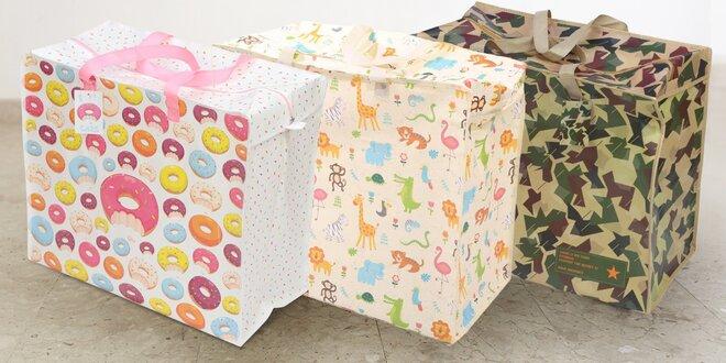 Originální úložný box nebo taška na špinavé prádlo s barevným potiskem