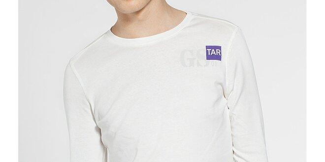 Pánské bílé tričko G-Star Raw s dlouhým rukávem a potiskem