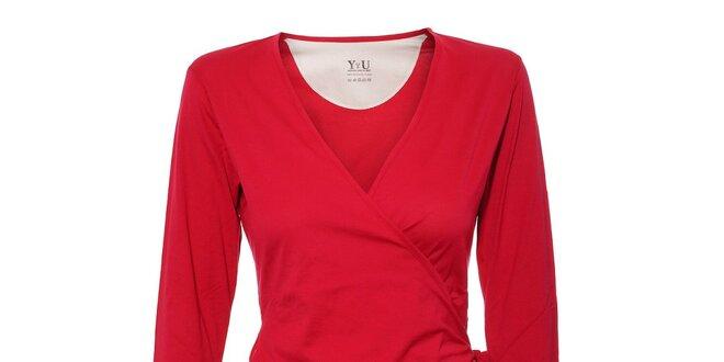 Dámské zavinovací triko YU Feelwear v jahodové barvě