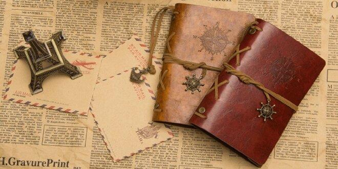 Vintage zápisník s kroužkovou vazbou ve 4 designech