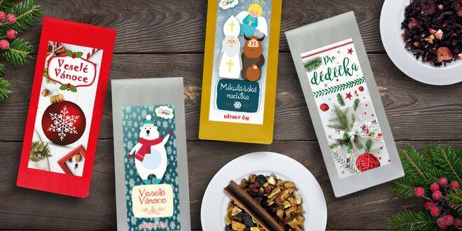Vánoční balíčky sypaných čajů a svařáků