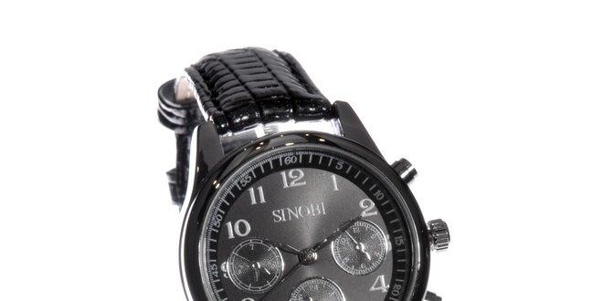 Dámské černé hodinky Sinobi s koženým řemínkem  8665247262f