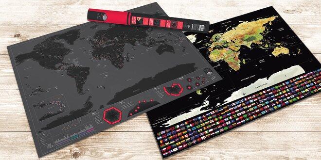 Stírací mapy světa s vlajkami nebo hlavními městy