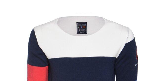 5041f92e7b3 Pánský modro-bílý svetr s červeným rukávem Giorgio di Mare