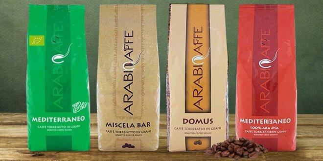 1000 g zrnkové kávy: čisté druhy, směsi i bio