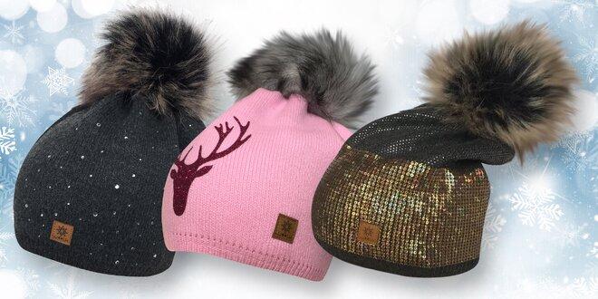 ed860026504 Dámské zimní čepice s kamínky i flitry a bambulí