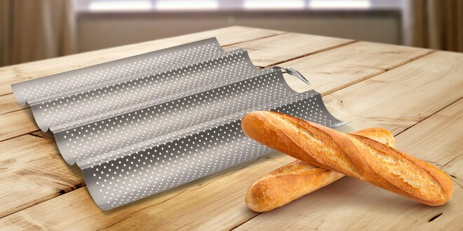 Forma pro rovnoměrné pečení dvou i čtyř baget