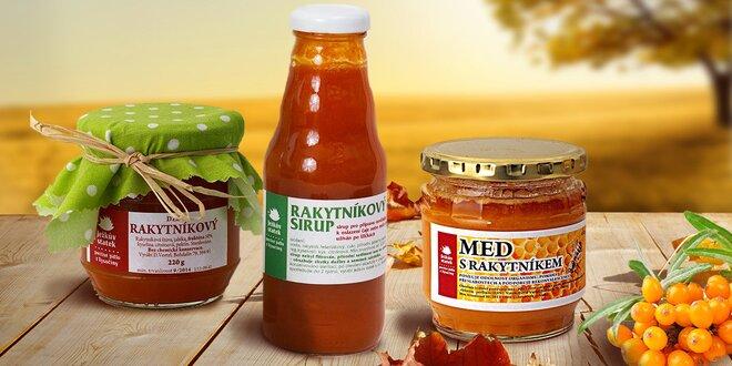 Rakytníkový set proti nachlazení – sirup, džem i med