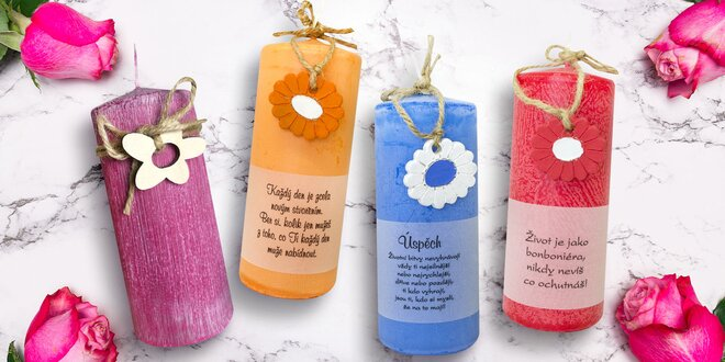 Ručně vyráběné vonné svíčky v různých barvách