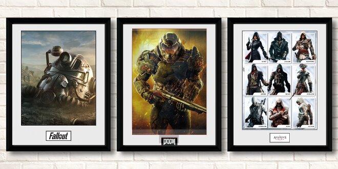 Zarámované licencované plakáty s herní tematikou