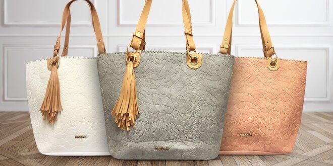 Prostorné dámské kabelky Tessra s přívěskem