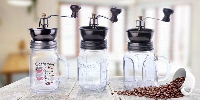 Kovové ruční mlýnky na kávu se skleněnou nádobou
