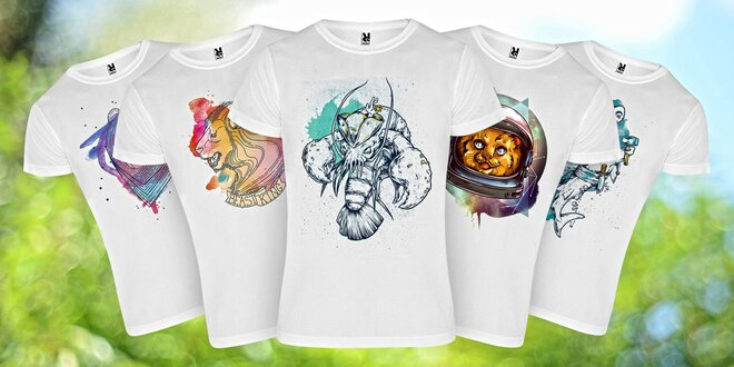 Bílá unisexová trička s barevnými potisky zvířat