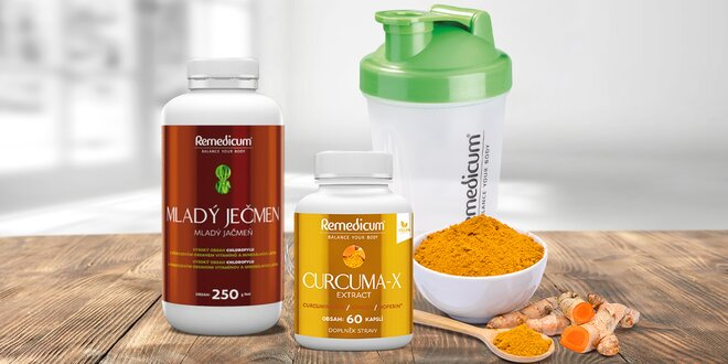 Mladý ječmen a kapsle Curcuma-x pro vaše zdraví