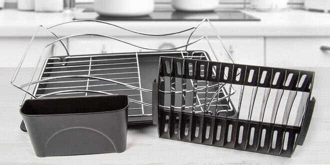 Kovové odkapávače na nádobí s držákem příborů