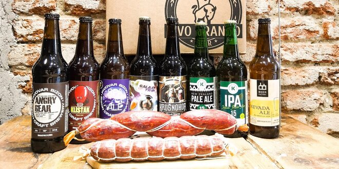 Balíčky s řemeslnými pivy, masem a salámy