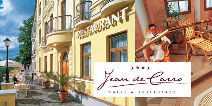 3299 Kč za romantický víkend pro dva v luxusním wellness hotelu Jean de Carro v historickém centru Karlových Varů. Více než 50% sleva za romantiku pro dva!