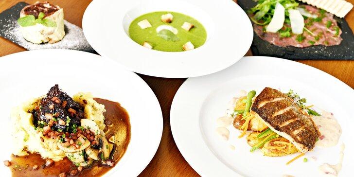 5chodové degustační menu pro 2 osoby: carpaccio, špenátový krém, hovězí krk i ryba