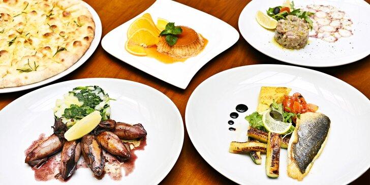 Středomořské degustační menu s pražmou královskou a mořskými plody pro 2 osoby