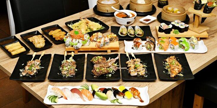 Asijská hostina: sushi and grill all you can eat pro dospělé i děti