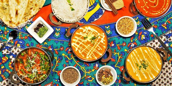 Indická hostina dle výběru pro dva: kuřecí, jehněčí, krevety i veganské pokrmy