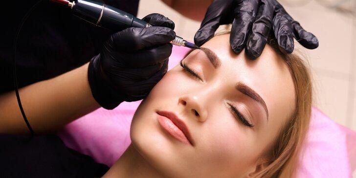 Permanentní make-up obočí pudrovou metodou nebo očních linek dle výběru