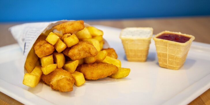 Dobrota do ruky: fish & chips z restaurace Nordsee pro dva