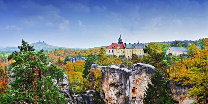 Romantika na zámku Hrubá Skála: polopenze, wellness s vířivkou i tělový zábal