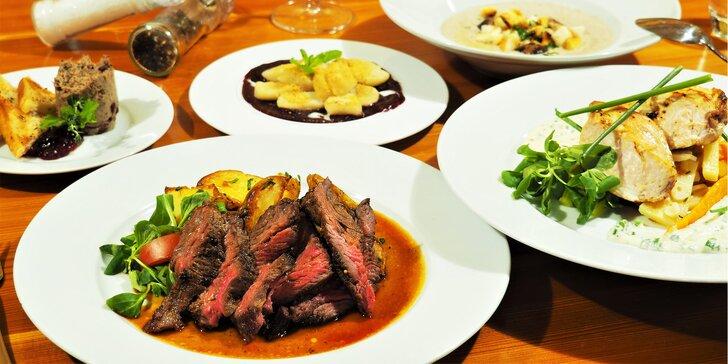 4chodové menu pro 1 nebo 2 osoby: houbový krém, hanger steak i tvarohové knedlíčky