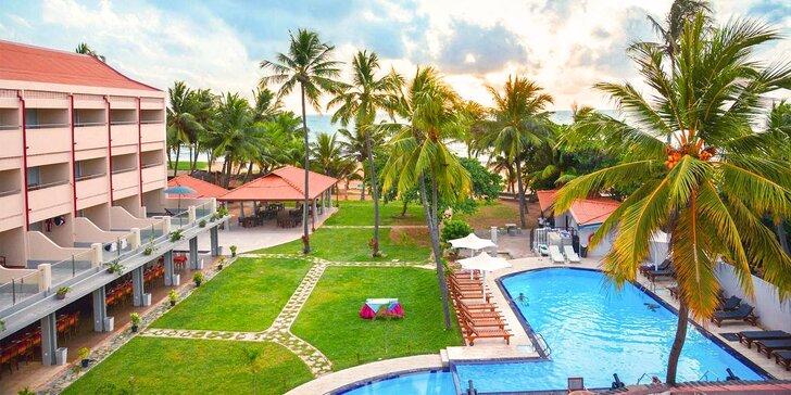 Příjemný 3* resort na Srí Lance: 6–12 nocí, polopenze, bazén, přímo na pláži