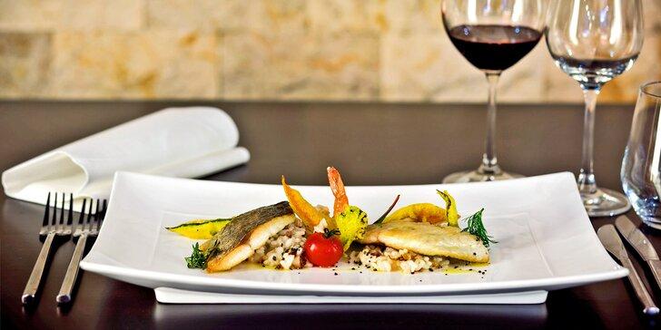 4chodové degustační menu: hovězí entrecôte nebo filety dorády