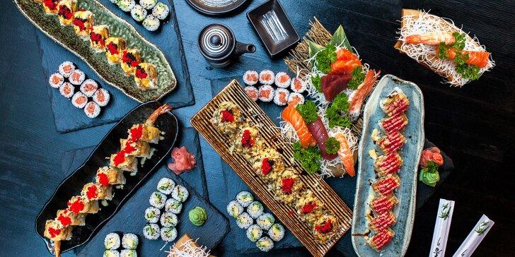 16–46 ks sushi v menu i se saláty, miso polévkami a gyoza taštičkami