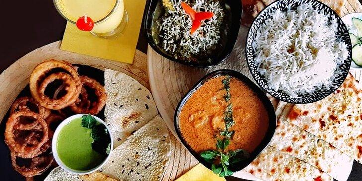 Indické menu s výběrem ze 4 hlavních chodů pro 2 osoby
