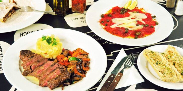 Menu pro 2 v restauraci DNO: 3 chody s carpacciem, steakem a jablečným závinem